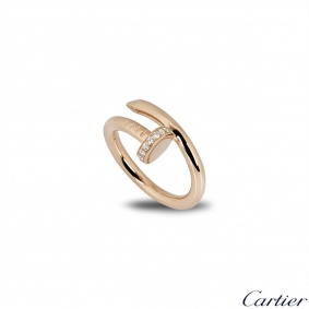 Cartier Rose Gold Diamond Juste Un Clou Ring Size 52 B4094800